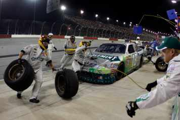 No 18 Doublemint Toyota Camry of Kyle Busch During a Pit Stop - Photo Credit: Chris Graythen/Getty Images