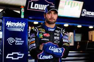 Jimmie Johnson in Garage - Photo Credit: Jason Smith/Getty Images for NASCAR