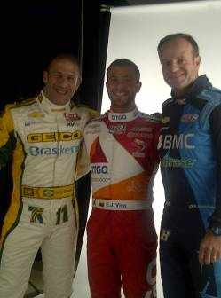 KV Racing Technology''s Tony Kanaan (left) E.J. Viso (center) and Rubens Barrichello (right)