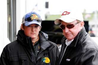 (L-R) Ty Dillon, driver of the No. 3 Bass Pro Shops/Allstate Chevrolet and owner Richard Childress talk in the garage - Photo Credit: Geoff Burke/Getty Images for NASCAR