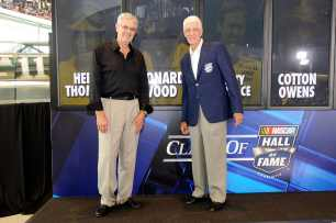 Leonard Wood (L) part of the 2013 class of inductees in the NASCAR Hall of Fame and his brother and Class of 2012 NASCAR Hall of Famer Glen Wood (R) pose after Voting Day at the NASCAR Hall of Fame on Wednesday in Charlotte, N.C. - Photo Credit: John Harrelson/Getty Images for NASCAR