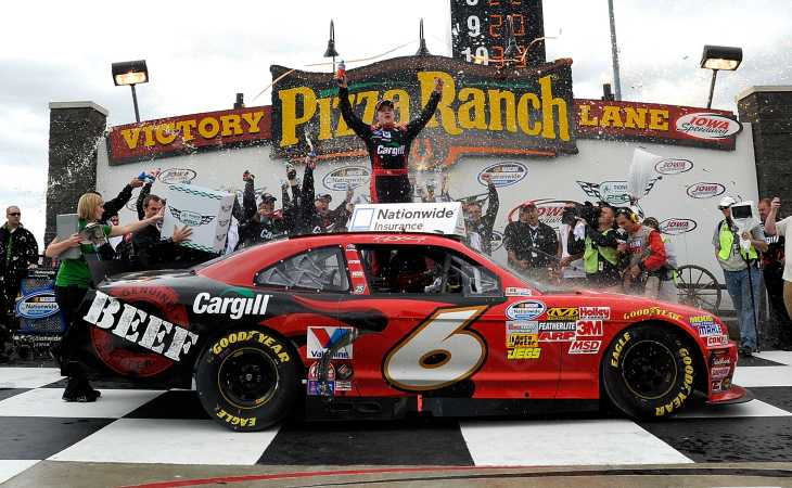 Ricky Stenhouse Jr., driver of the No. 6 Cargill Ford, celebrates in victory lane after winning the NASCAR Nationwide Series Pioneer Hi-Bred 250 at Iowa Speedway on Sunday in Newton, Iowa. - Photo Credit: Rainier Ehrhardt/Getty Images for NASCAR