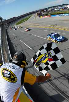 Brad Keselowski and the No. 2 Miller Lite Penske Dodge team celebrate in Victory Lane after the NASCAR Sprint Cup Series Aaron's 499 on Sunday in Talladega, Ala. - Photo Credit: Jared C. Tilton/Getty Images for NASCAR