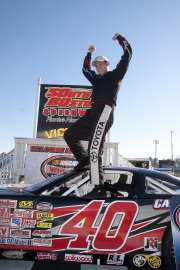 CE Falk Celebrates in Victory Lane at South Boston Speedway - Photo Credit: James Price/South Boston Speedway