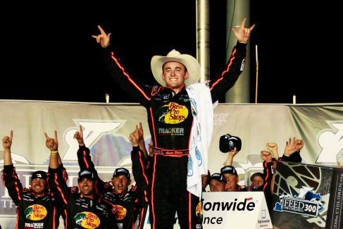 Austin Dillon, driver of the #3 Bass Pro Shops Chevrolet, celebrates in Victory Lane after winning the NASCAR Nationwide Series Feed The Children 300 at Kentucky Speedway on June 29, 2012, in Sparta, Ky. - Photo Credit: Geoff Burke/Getty Images for NASCAR