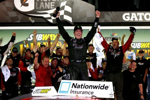 Kurt Busch, driver of the No. 1 HendrickCars.com Chevrolet, celebrates in Victory Lane after winning the NASCAR Nationwide Series Subway Jalapeno 250 Powered by Coca-Cola at Daytona International Speedway on Friday in Daytona Beach, Fla. - Photo Credit: Mike Ehrmann/Getty Images for NASCAR