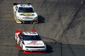 Brad Keselowski (No. 22 Snap-On Dodge) Keeps Kevin Harvick (No. 33 Barber Foods Chevy) Behind During the NNS F.W. Webb 200 at NHMS - Photo Credit: Getty Images for NASCAR