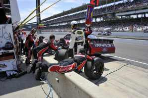 Trevor Bayne Pits the No 21 Wood Bros Ford at Indy - Photo Credit: Jim Haines for IMS