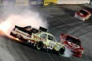 Ryan Newman, driver of the #39 Outback Steak House Chevrolet, spins out in front of Dave Blaney, driver of the #36 SealWrap Chevrolet, and Juan Pablo Montoya, driver of the #42 Target Chevrolet, after an incident in the NASCAR Sprint Cup Series IRWIN Tools Night Race at Bristol Motor Speedway on August 25, 2012, in Bristol, Tenn. - Photo Credit: Tyler Barrick/Getty Images for NASCAR