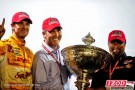 Ryan Hunter-Reay (28) celebrates with Michael Andretti and Randy Bernard after winning the Indycar 2012 series championship. - Photo Credit: INDYCAR/LAT USA