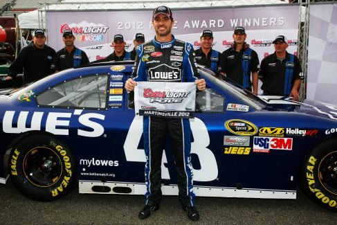 Jimmie Johnson, driver of the #48 Lowe's Chevrolet, poses with the Coors Light Pole Award after qualifying for pole position for the NASCAR Sprint Cup Series Tums Fast Relief 500 at Martinsville Speedway on October 26, 2012 in Ridgeway, Virginia. - Photo Credit: Tyler Barrick/Getty Images