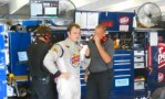 Travis Kvapil & Team Members in Garage - BK Racing