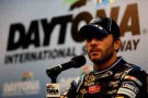 Jimmie Johnson driver of the #48 Chevrolet, talks to the media - Photo Credit: Chris Trotman/Getty Images
