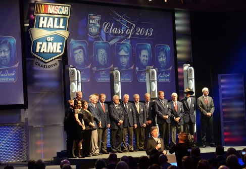 Hall of Fame members and family members poses on stage during the 2013 Nascar Hall of Fame induction ceremony at the NASCAR Hall of Fame on February 8, 2013 in Charlotte, North Carolina. - Photo Credit: John Harrelson/NASCAR