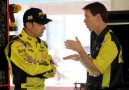 Matt Kenseth (L), driver of the #20 Dollar General Toyota, talks with crew chief Jason Ratcliff (R) in the garage - Photo Credit: Todd Warshaw/Getty Images