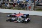 Marco Andretti (top) and Tony Kanaan (bottom) fight for the lead -- Photo Credit: Jim Haines for IMS