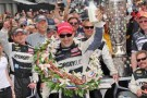 Tony Kanaan with the Borg Warner Wreath and Milk After Winning the 97th Indianapolis 500 - Photo Credit: Firestone Racing