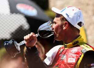 Clint Bowyer, driver of the #15 5-hour Energy Toyota, celebrates in Victory Lane after winning the NASCAR Sprint Cup Series Toyota/Save Mart 350 at Sonoma on June 24, 2012 in Sonoma, California. - Photo Credit: Ezra Shaw/Getty Images