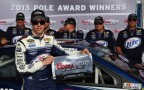 Brad Keselowski, driver of the #2 Miller Lite Ford, poses with the pole award after qualifying for the NASCAR Sprint Cup Series Camping World RV Sales 301 at New Hampshire Motor Speedway on July 12, 2013 in Loudon, New Hampshire. - Photo Credit: Tom Pennington/Getty Images