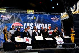 (Back L-R) Carl Edwards, Kasey Kahne, Ryan Newman, Kurt Busch, Greg Biffle, Joey Logano, Clint Bowyer, (Front L-R) Jeff Gordon, Dale Earnhardt Jr., Kyle Busch, Kevin Harvick, Matt Kenseth, and 2013 NASCAR Sprint Cup Champion Jimmie Johnson attend a fanfest hosted by Las Vegas Motor Speedway on the Third Street Stage at the Fremont Street Experience on December 4, 2013 in Las Vegas, Nevada. - Photo Credit: NASCAR via Getty Images