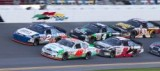 No. 2 Mobile ARCA 200 / DK-LOK Chevrolet Impala battles Maryeve Dufault (No. 46) for the lead at Daytona (Fla.) International Speedway