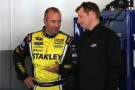 (L-R) Marcos Ambrose, driver of the #9 Stanley Ford, talks with crew chief Drew Blickensderfer - Photo Credit: Todd Warshaw/Getty Images