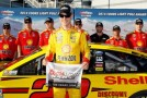 Joey Logano, driver of the #22 Shell-Pennzoil Ford, will start on the pole after turning the fastest lap during qualifying for the NASCAR Sprint Cup Series Kobalt 400 at Las Vegas Motor Speedway on March 7, 2014 in Las Vegas, Nevada. - Photo Credit: Brian Lawdermilk/Getty Images