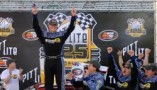 Eddie MacDonald celebrates in Victory Lane Saturday following the PittLite 125 after he scored his seventh career NASCAR K&N Pro Series East win at Bristol Motor Speedway. (Photo Credit: Getty Images for NASCAR)