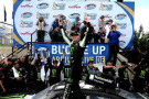 Kyle Busch, driver of the #54 Monster Energy Toyota, celebrates in victory lane after winning during the NASCAR Nationwide Series Buckle Up 200 Presented By Click It Or Ticket at Dover International Speedway on May 31, 2014 in Dover, Delaware. - Photo Credit: Rainier Ehrhardt/Getty Images