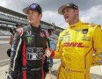 Kurt Busch driver of the #26 Honda talks to Ryan Hunter-Reay driver of the #28 Andretti Autosport Dallara Honda during practice for the Indy 500 at the Indianapolis Motor Speedway in Indianapolis, Indiana. - Photo Credit: Michael Hickey/Getty Images