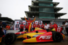 Sebastian Saavedra of Colombia, driver of the #17 KVAFS Racing Dallara Chevrolet celebrates taking pole position during qualifying for the Grand Prix of Indianapolis at Indianapolis Motor Speedway on May 9, 2014 in Indianapolis, Indiana. - Photo Credit: Nick Laham/Getty Images