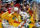 Ryan Hunter-Reay, driver of the #28 DHL Andretti Autosport Honda Dallara, celebrates in Victory Lane with milk after winning the 98th running of the Indianapolis 500 at Indianapolis Motorspeedway on May 25, 2014 in Indianapolis, Indiana. - Photo Credit: Jonathan Ferrey/Getty Images