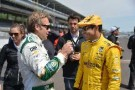 Ed Carpenter speaks with Helio Castroneves - Photo Credit: Dana Garrett for IMS