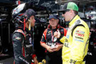 Darrell Wallace Jr., driver of the #54 Toyota Made in America Toyota, talks with Kyle Busch, driver of the #51 Dollar General Toyota - Photo Credit: Joe Robbins/Getty Images