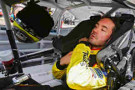 Paul Menard, driver of the #33 Nibco/Menards Chevrolet, sits in his car in the garage area during practice for the NASCAR Nationwide Series Michigan 250 at Michigan International Speedway on June 13, 2014 in Brooklyn, Michigan. - Photo Credit: Gregory Shamus/Getty Images