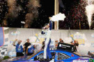 Kevin Harvick, driver of the #5 Kroger/P&G Chevrolet, celebrates in Victory Lane after winning the NASCAR Nationwide Series John R. Elliott HERO Campaign 300 at Kentucky Speedway on June 27, 2014 in Sparta, Kentucky. - Photo Credit: Todd Warshaw/Getty Images