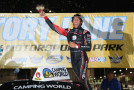 Darrell Wallace Jr., driver of the Toyota Toyota, celebrates in victory lane after winning the NASCAR Camping World Truck Series Drivin' For Linemen 200 at Gateway Motorsports Park on June 14, 2014 in Madison, Illinois. - Photo Credit: Todd Warshaw/Getty Images