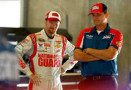 Dale Earnhardt Jr., driver of the #88 National Guard Chevrolet, left, talks with crew chief Steve Letarte in the garage area during practice - Photo Credit: Andy Lyons/Getty Images