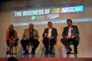 """Talladega Superspeedway and the Birmingham Business Alliance hosted """"The Business of NASCAR - Put Your Business in the Fast Lane"""" summit today at Iron City in Birmingham. Pictured here are the some of the panelists featured in today's event (from left to right) Coca-Cola Refreshment's Brenda Staton, Talladega Superspeedway Chairman Grant Lynch, all-time Talladega Superspeedway winning car owner Richard Childress and NASCAR President Mike Helton."""