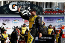 Marcos Ambrose, driver of the #09 Stanley Ford, celebrates in Victory Lane after winning the NASCAR Nationwide Zippo 200 at Watkins Glen International on August 9, 2014 in Watkins Glen, New York. - Photo Credit: Jeff Zelevansky/Getty Images