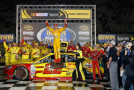 Joey Logano, driver of the #22 Shell Pennzoil Ford, celebrates in Victory Lane after winning the NASCAR Sprint Cup Series Irwin Tools Night Race at Bristol Motor Speedway on August 23, 2014 in Bristol, Tennessee. - Photo Credit: Sean Gardner/Getty Images