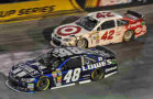 Jimmie Johnson, driver of the #48 Lowe's Chevrolet SS, finished fourth and Kyle Larson, driver of the #42 Target Chevrolet SS, finished twelfth Saturday, August 23, 2014 in the Nascar Sprint Cup race at Bristol Motor Speedway in Bristol, Tennessee. (Photo by Rusty Jarrett/HHP for Chevy Racing)