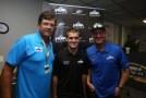 Michael Waltrip, Christian PaHud and Clint Bowyer at Pocono (Pa.) Raceway