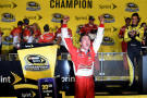Kevin Harvick, driver of the #4 Budweiser Chevrolet, celebrates in victory lane after winning the NASCAR Sprint Cup Series Ford EcoBoost 400 at Homestead-Miami Speedway on November 16, 2014 in Homestead, Florida. - Photo Credit: Patrick Smith/Getty Images