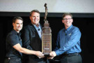 Michigan International Speedway President Roger Curtis presents the Michigan Heritage Trophy to Jeff Gordon and Jim Campbell, Chevrolet's U.S. Vice President of Performance Vehicles and Motorsports. The trophy is presented to the winning manufacturer in each NASCAR Sprint Cup Series race at Michigan International Speedway. Chevrolet's won both Sprint Cup races at MIS in 2014.