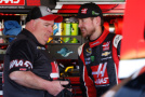 Kurt Busch, driver of the #41 Haas Automation Chevrolet (right) talks to crew chief Tony Gibson in the garage area - Photo Credit: Christian Petersen/Getty Images