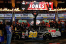 Erik Jones, driver of the #20 GameStop/Mortal Kombat X Toyota, celebrates in victory lane after winning the NASCAR XFINITY Series O'Reilly Auto Parts 300 at Texas Motor Speedway on April 10, 2015 in Fort Worth, Texas. - Photo Credit: Jerry Markland/Getty Images