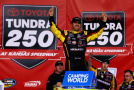 Matt Crafton, driver of the #88 Slim Jim/Menards Toyota, celebrates in Victory Lane after winning the NASCAR Camping World Truck Series Toyota Tundra 250 at Kansas Speedway on May 8, 2015 in Kansas City, Kansas. - Photo Credit: Jonathan Ferrey/Getty Images