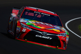 Kyle Busch, driver of the #18 Skittles Toyota, practices for the NASCAR Sprint Cup Series Crown Royal Presents the Jeff Kyle 400 at the Brickyard at Indianapolis Motorspeedway on July 24, 2015 in Indianapolis, Indiana. - Photo Credit: Robert Laberge/Getty Images