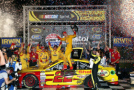 Joey Logano, driver of the #22 Shell Pennzoil Ford, celebrates in Victory Lane after winning the NASCAR Sprint Cup Series IRWIN Tools Night Race at Bristol Motor Speedway on August 22, 2015 in Bristol, Tennessee. - Photo Credit: Sean Gardner/Getty Images